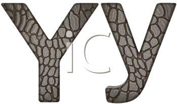 Royalty Free Clipart Image of Alligator Skin Font Y Lowercase and Capital Letters