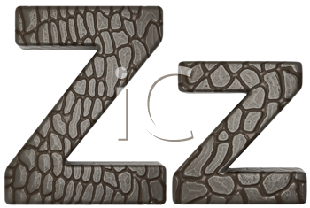 Royalty Free Clipart Image of Alligator Skin Font Z Lowercase and Capital Letters