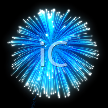 Royalty Free Clipart Image of Blue Fireworks
