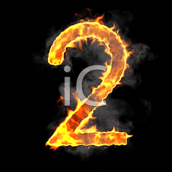 Royalty Free Clipart Image of a Burning Number Two