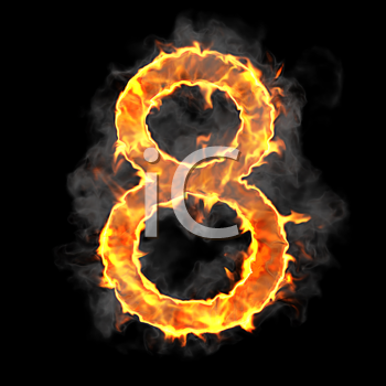 Royalty Free Clipart Image of a Burning Number Eight