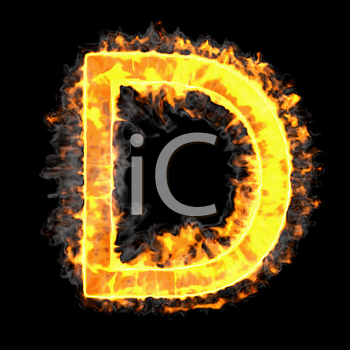 Royalty Free Clipart Image of a Burning Letter D