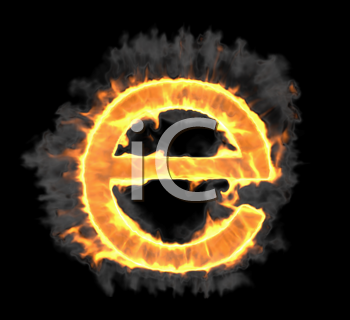 Royalty Free Clipart Image of a Burning Letter E