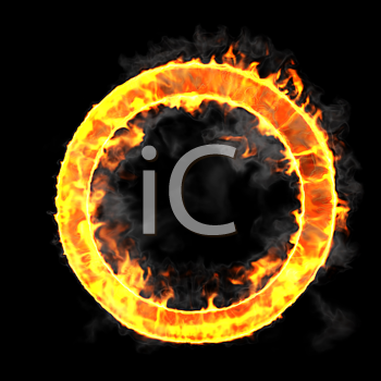 Royalty Free Clipart Image of a Burning Letter O