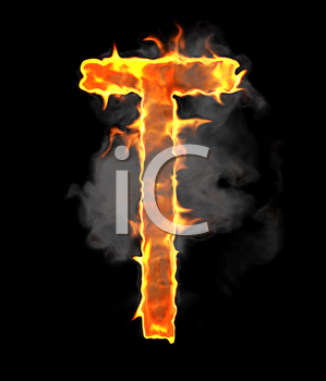 Royalty Free Clipart Image of a Burning Letter T