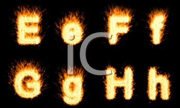 Royalty Free Clipart Image of Burning Letters E, F, G and H