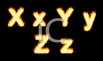 Royalty Free Clipart Image of Burning Letters X, Y and Z