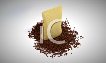 Royalty Free Clipart Image of Sacking Pack on Coffee Beans