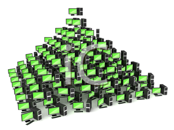 Royalty Free Clipart Image of a Pyramid of Tablets