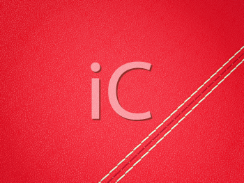 Royalty Free Clipart Image of a Red Diagonal Stitched Leather Background
