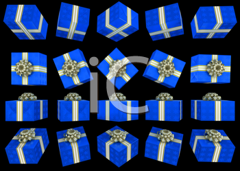 Royalty Free Clipart Image of Blue Gift Boxes