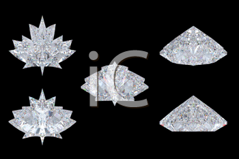 Royalty Free Clipart Image of Maple Leaf Diamonds