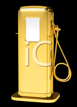 Royalty Free Clipart Image of a Golden Gasoline Pump