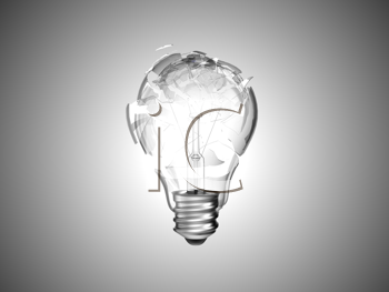 Royalty Free Clipart Image of a Smashed Light Bulb