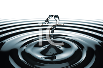 Royalty Free Clipart Image of a Question Mark in Water