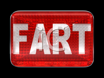 Royalty Free Clipart Image of a Red Button Reading Fart