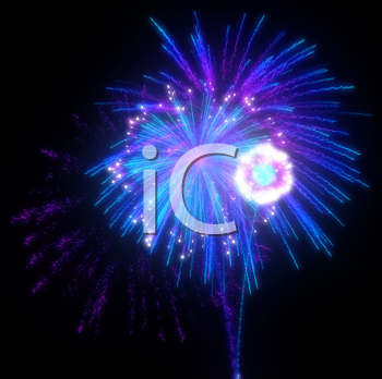 Royalty Free Clipart Image of Blue and Purple Fireworks