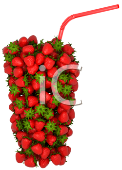 Royalty Free Clipart Image of a Strawberry Glass With Straw