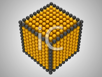 Royalty Free Clipart Image of a Cube Made of Spheres