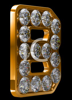 Royalty Free Clipart Image of a Golden Letter B Incrusted With Diamonds