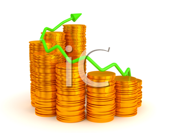 Royalty Free Clipart Image of Earnings and Success Coin Graph