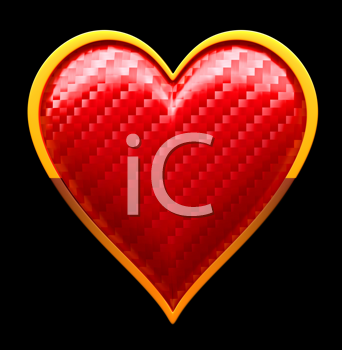 Royalty Free Clipart Image of a Textured Heart Suit