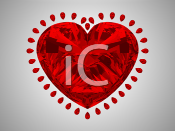 Royalty Free Clipart Image of a Red Diamond Heart