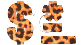 Royalty Free Clipart Image of Leopard Print Symbols