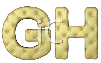 Royalty Free Clipart Image of Beige Leather Font of G and H