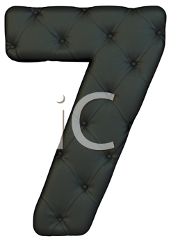 Royalty Free Clipart Image of a Black Leather Number Seven