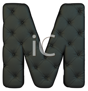 Royalty Free Clipart Image of a Black Leather Font M