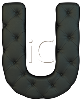 Royalty Free Clipart Image of a Black Leather Font U