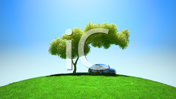Royalty Free Clipart Image of a Car Parked Under a Tree