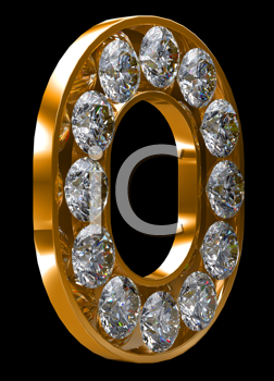 Royalty Free Clipart Image of a Golden Letter O Incrusted With Diamonds
