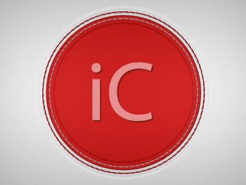 Royalty Free Clipart Image of a Red Stitched Leather Circle