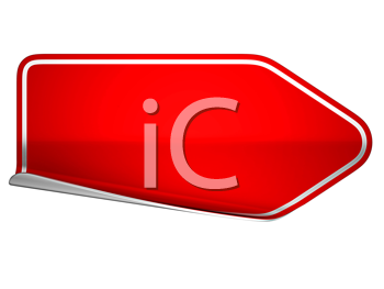 Royalty Free Clipart Image of a Bent Red Sticker