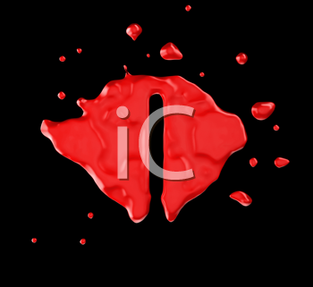 Royalty Free Clipart Image of the Letter I in Red Paint