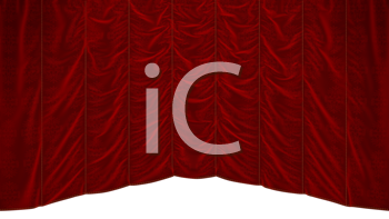 Royalty Free Clipart Image of a Red Theater Curtain