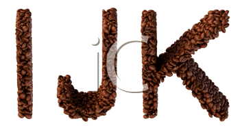 Royalty Free Clipart Image of Roasted Coffee Font I, J and K