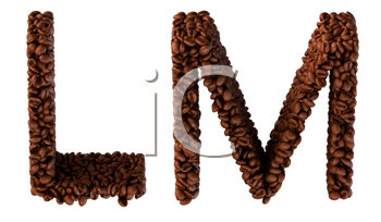 Royalty Free Clipart Image of Roasted Coffee Font L and M
