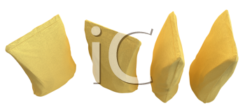 Royalty Free Clipart Image of Four Golden Packs for Coffee or Tea