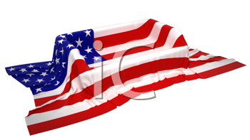 Royalty Free Clipart Image of a Showcase Stand Covered With an American Flag
