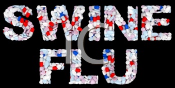 Royalty Free Clipart Image of Pills Spelling Out Swine Flu
