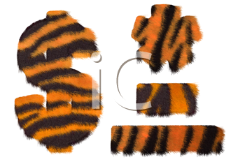 Royalty Free Clipart Image of Tiger Fell Symbols