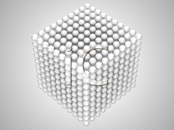 Royalty Free Clipart Image of Spheres Forming a Cube