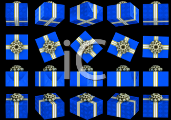 Royalty Free Clipart Image of Blue Presents