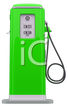Royalty Free Clipart Image of a Vintage Green Fuel Pump
