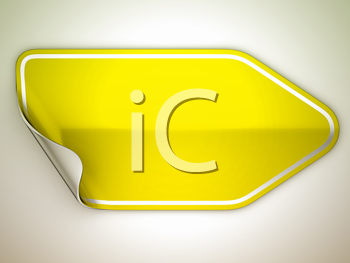 Royalty Free Clipart Image of a Bent Yellow Sticker