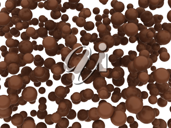 Brown chocolate orbs or balls isolated over white background
