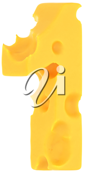 Cheeze font 1 number isolated over white background